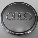 Genuine Audi 70mm Metallic Grey Chrome Edge Centre Caps