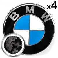 Genuine BMW Centre Cap Set with Floating Roundel 57mm for 5x112 wheels
