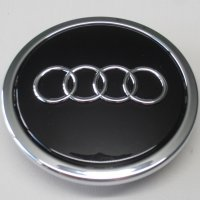 Genuine Audi 70mm Gloss Black Chrome Edge Centre Caps